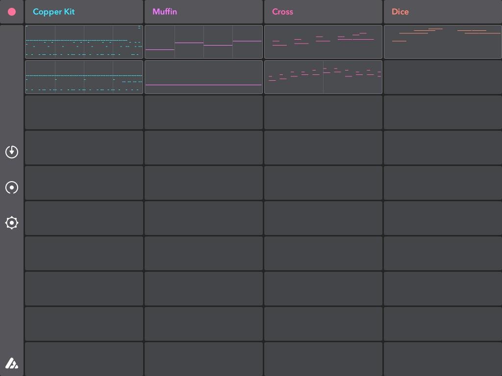 Die Oberfläche von Auxy auf dem iPad. Jede Spalte entspricht einem Instrument