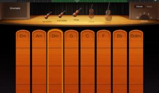 """Der Streicher GUI der iOS Version von """"Garage Band"""" erlaubt es Töne zu zupfen und zu streichen. Einer der Schüler war davon so angeregt dass er jetzt echte Geige lernen will. (Screenshot: Valentin Schmitt)"""