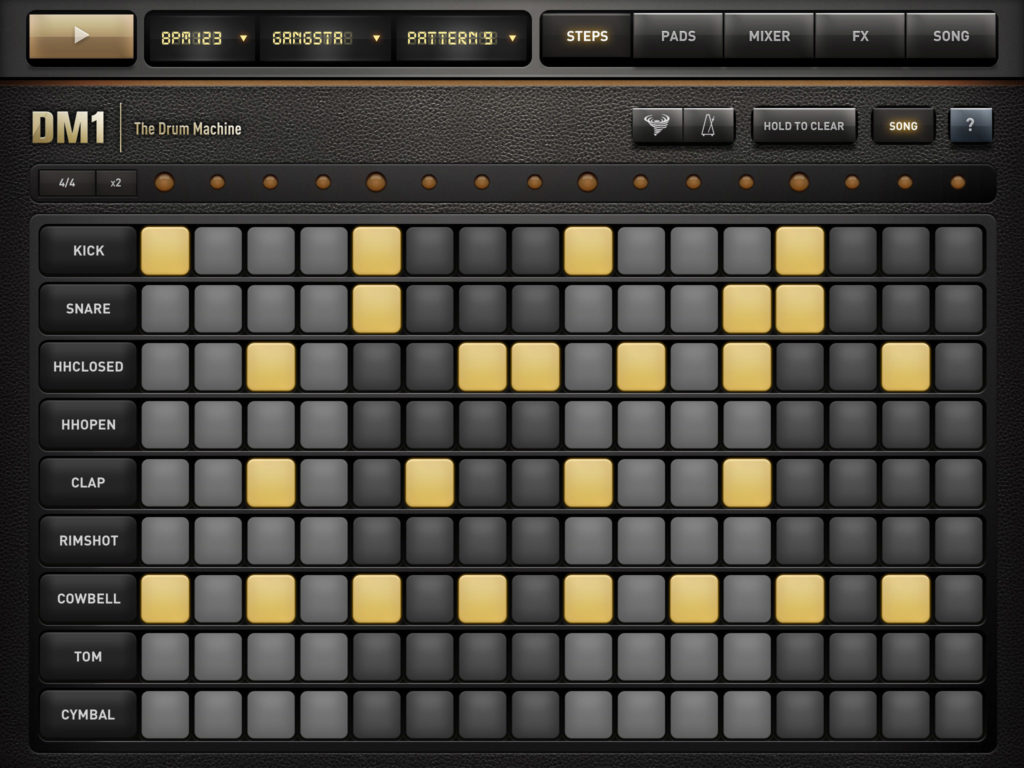 Der Stepsequenzer von DM1 – Einmal programmiert, läuft der Beat als Schleife